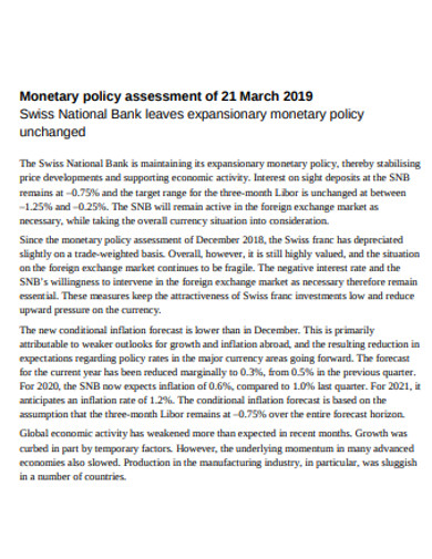 monetary policy assessment