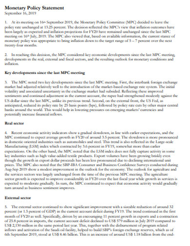 monetary policy statement