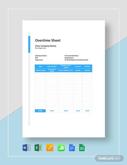 overtime sheet template