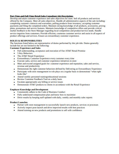 part time and full time retail sales consultant job description