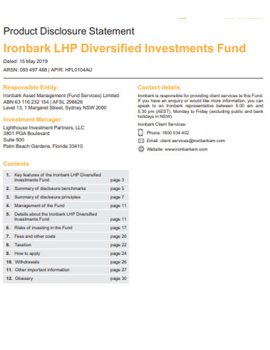 product diversified investments fund example