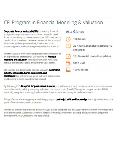 program in finance modeling and valuation