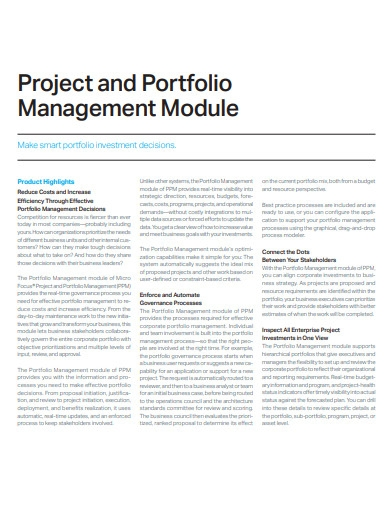 project and portfolio management module