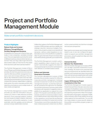 project and portfolio management module