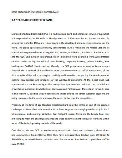 ratio analysis of standard chartered bank
