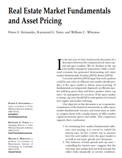 real estate market fundamentals and asset pricing