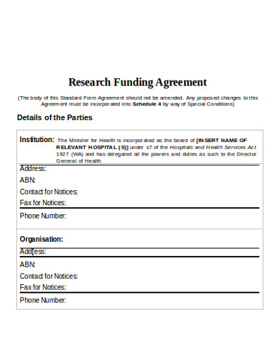 research funding agreement example
