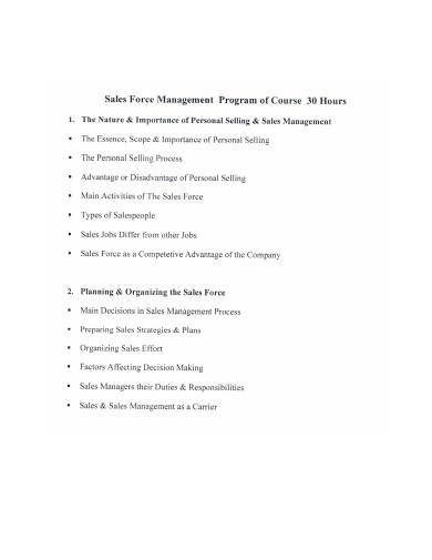 sales force management program course