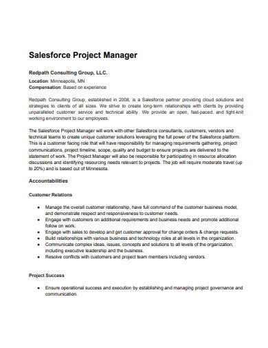sales force project manager