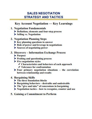 sales negotiating strategy and tactics