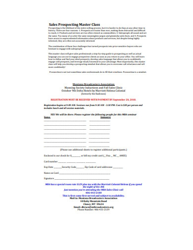 sales prospecting master class