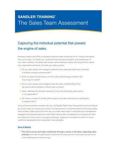 sales team assessment