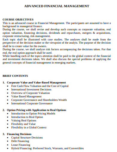 sample advanced financial management example