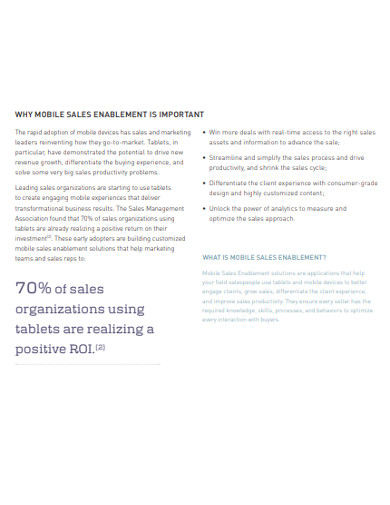 sample mobile sales enablement example