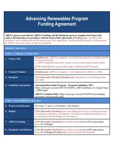 sample program funding agreement example