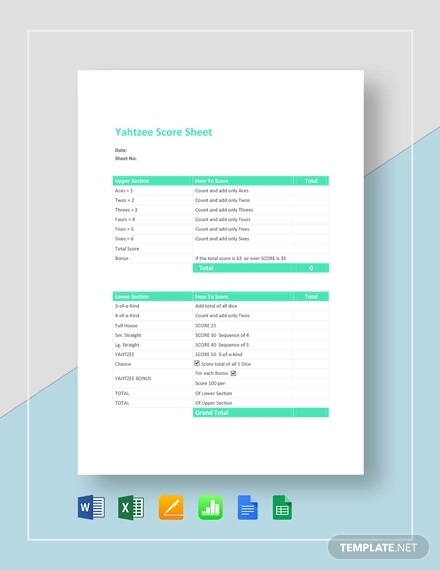 sample yahtzee score sheet template