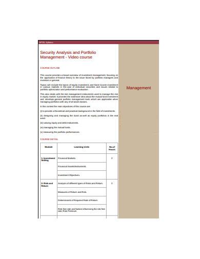security analysis and portfolio management example