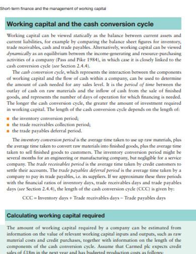 short term finance and management