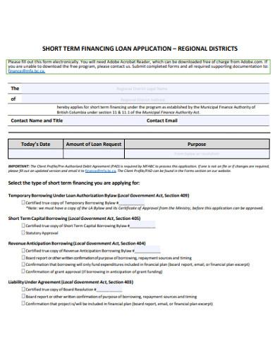 short term financing loan application example