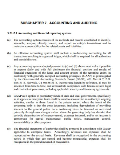 simple financial accounting and auditing examples