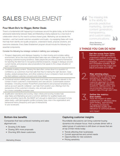 simple sales enablement example