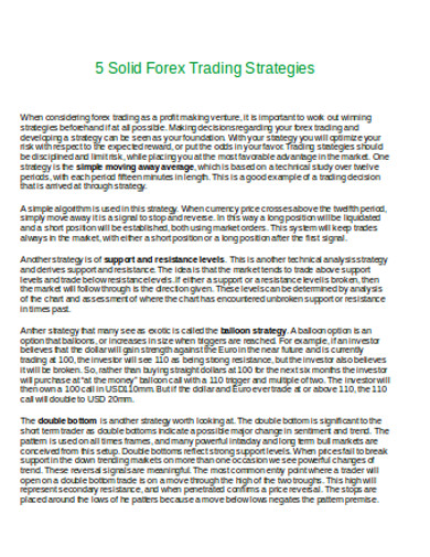 solid forex trading strategies