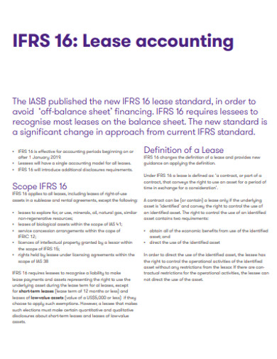 standard accounting lease
