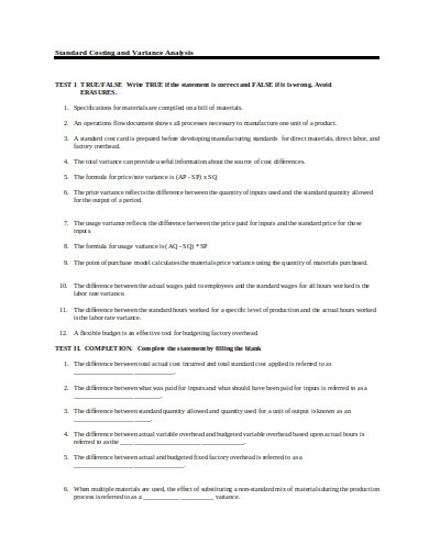standard costing and varience analysis questionnaire