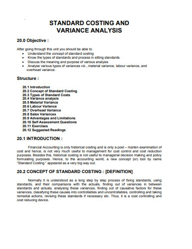 stardad costing and variance analysis