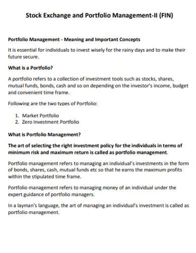 stock exchange and portfolio management example