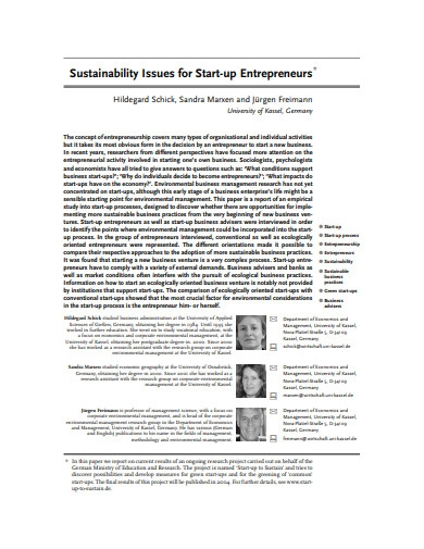 sustainability issues for startup entrepreneurs
