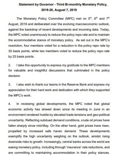 third bi monthly monetary policy