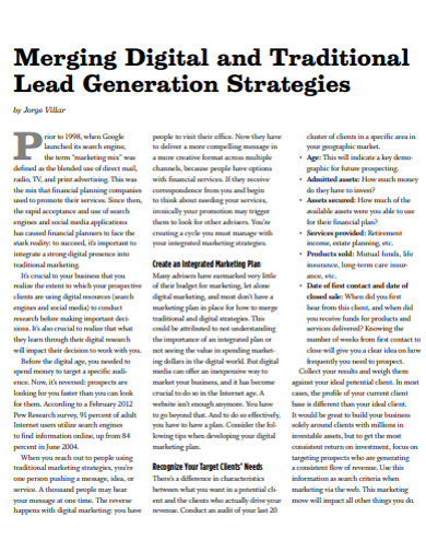 traditional lead generation strategies example