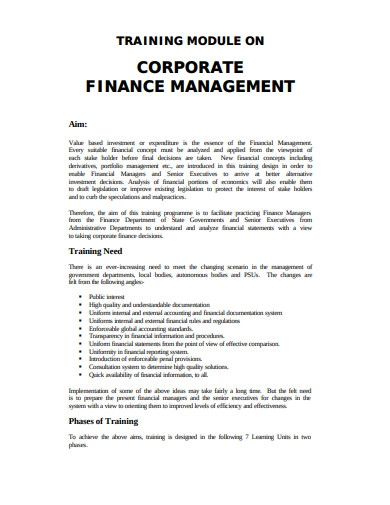 training module on corporate financial management