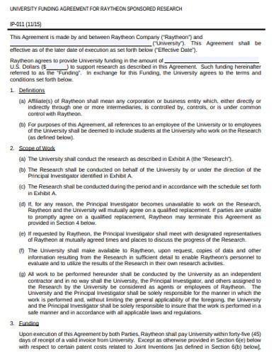 university funding agreement example