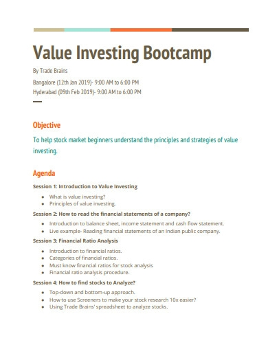 value investing bootcamp example