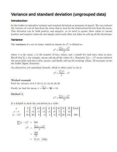 variance and standard deviation example