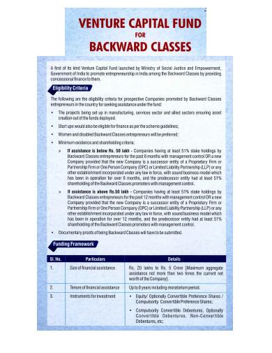 venture capital fund for backward classes