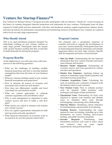 venture for startup finance