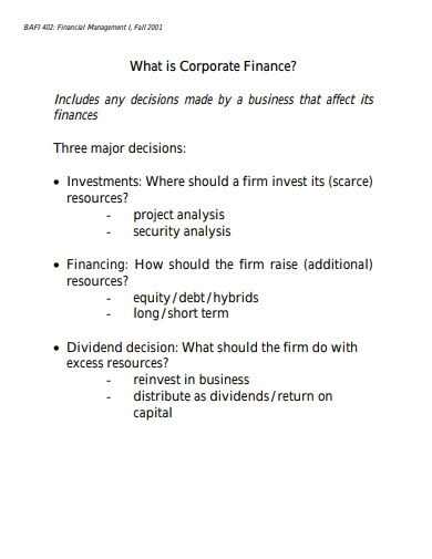 what is corporate finance in financial management