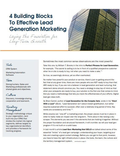 4 building blocks to lead generation marketing
