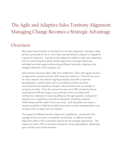 agile and adaptive sales territory alignment