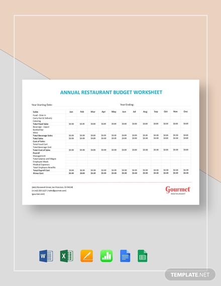 annual restaurant budget worksheet 4