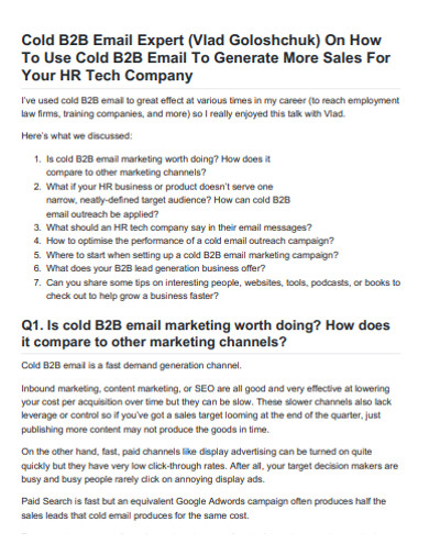 b2b company sales email example