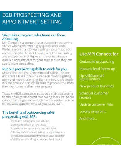 b2b prospecting and appointment example