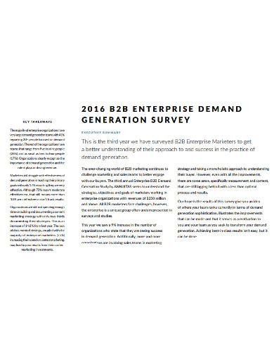 b2b sales condensed survey example