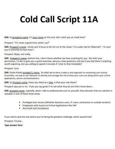 basic cold call script example