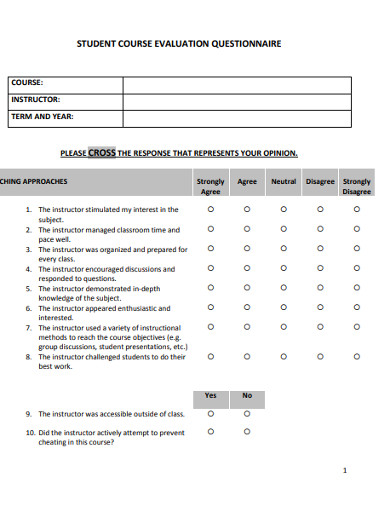 basic student course evaluation questionnaire example