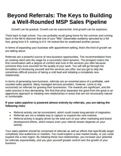building sales pipeline example
