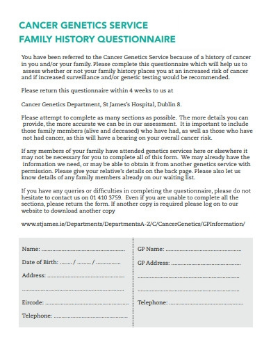cancer genetics services family history questionnaire
